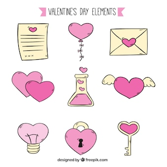 バレンタインデーのための黄色とピンクのアイテム