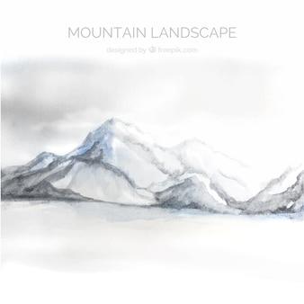 山、水彩画のある風景