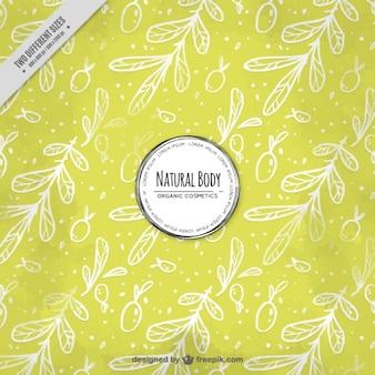 オリーブの葉と黄色の背景