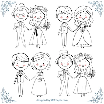 手描きスタイルで幸せな結婚式のカップルの美しいコレクション