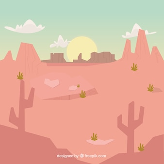 日没時の乾燥風景の背景