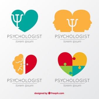 Плоский набор красочных логотипов психологии