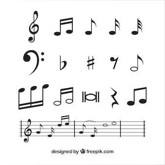 Коллекция музыкальных нот в плоском исполнении