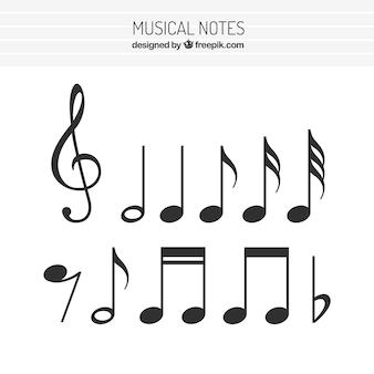 Плоский набор музыкальных нот