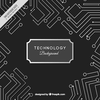 白い技術の回路と黒の背景