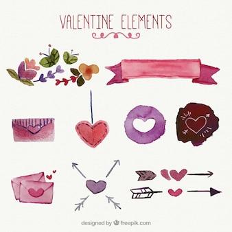 水彩画のバレンタインの装飾品のセット
