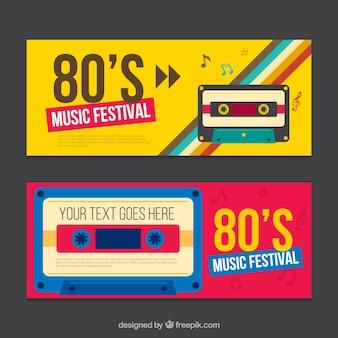 Восьмидесятые баннеры с кассетой