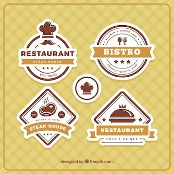 茶色のトーンのいくつかのレストランのロゴ