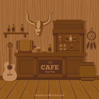 野生の西のカフェの背景