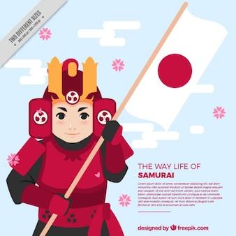 フラットデザインの侍と日本の背景
