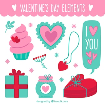 バレンタインデーのための素晴らしいアイテムのフラットコレクション