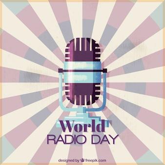 Всемирный день радио фон с микрофоном в стиле винтаж