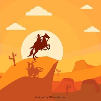 カウボーイと野生の西の単色の背景
