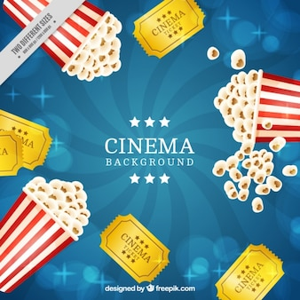 レトロなポップコーンの背景や映画のチケット