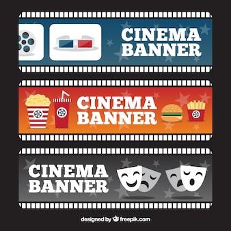 Несколько баннеров кино с различными объектами