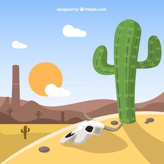 サボテンと乾燥西の風景