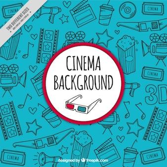 Голубой фон с нарисованными от руки предметов кино