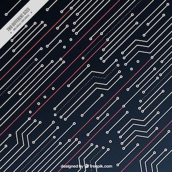 いくつかの赤い線と回路の背景