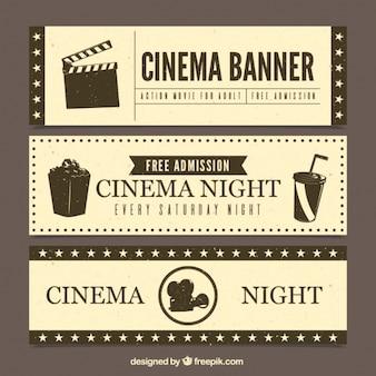 Набор баннеров кино в стиле ретро
