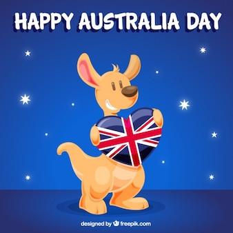 オーストラリアの日を祝うためにカンガルーを笑顔の背景