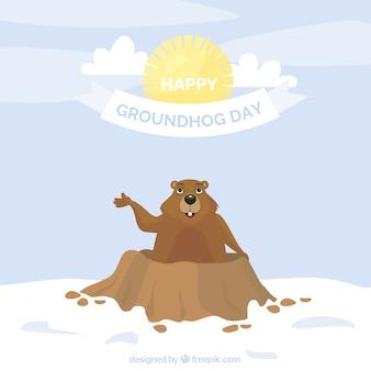 笑顔グラウンドホッグと日フラット背景