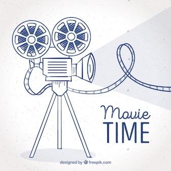 手描きのカメラとフィルムの背景