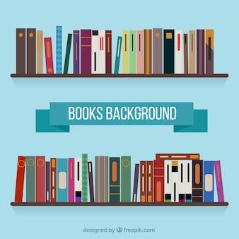 Полка фон с книгами в плоском дизайне