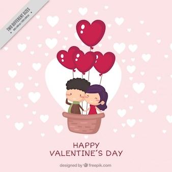 幸せな若いカップルかわいいバレンタインの背景