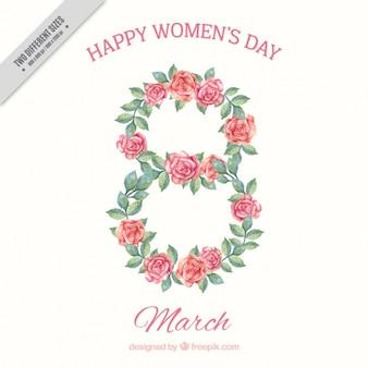 水彩バラで作られた八女性の日の背景
