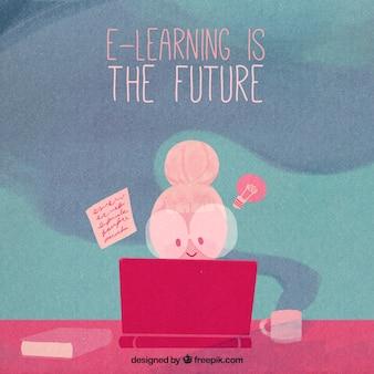 水彩画で描いたデジタル教育の背景