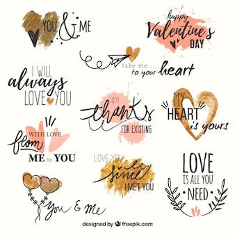 Набор любовных фраз с акварельными сердца