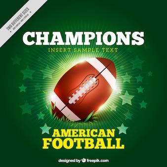 Яркий американский футбольный мяч фон со звездами
