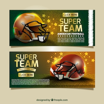 Яркие реалистичные баннеры футбольный шлем