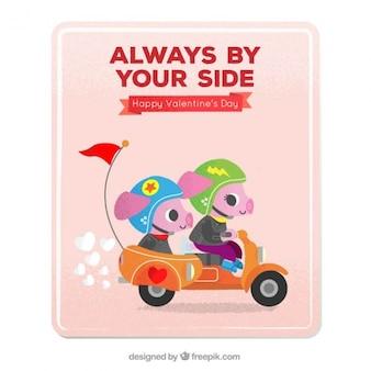 バイク上の子豚との愛カード