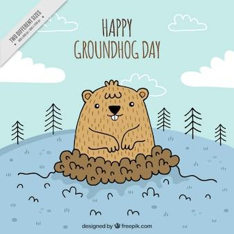 グラウンドホッグの日のお祝いのための手描きの背景