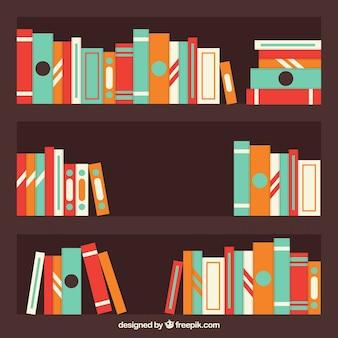 棚の上の着色された図書の背景