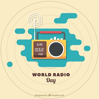 フラットなデザインのラジオの世界の日の背景