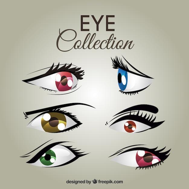 Набор цветных женских глаз