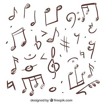 Разнообразие ручной обращается музыкальные ноты
