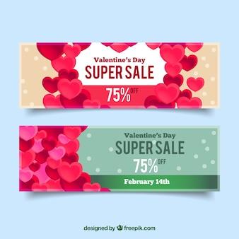 バレンタインデーのための心セールのバナー