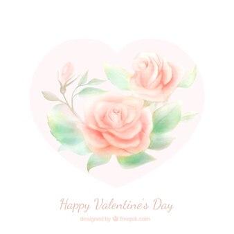 水彩花と美しいバレンタインの背景