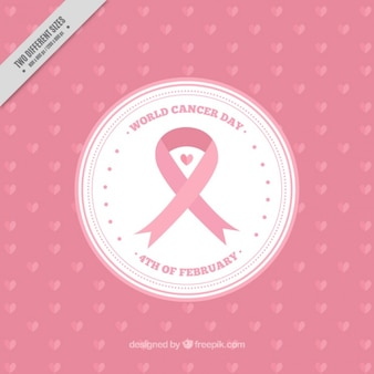 Розовый мир рак день фон с круглым баннер