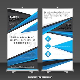 青と黒の幾何学的な形のビジネスロールアップ