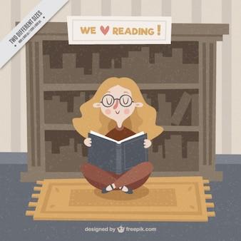 本を読んで女の子のレトロな背景