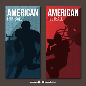 Плоские американский футбол баннеры с игроками, силуэты