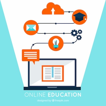 ラップトップとオレンジの詳細とオンライン教育の背景