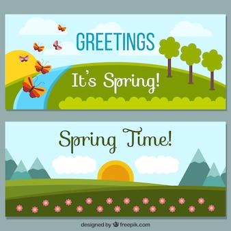 春の牧草地のバナー