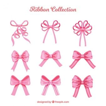 Красивые розовые декоративные луки пакет