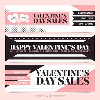 バレンタインの販売のための抽象バナーのセット