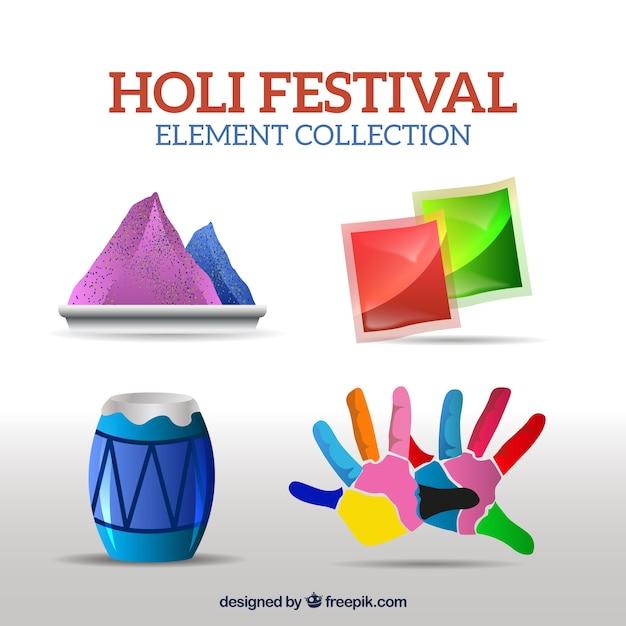 Реальные элементы для фестиваля холи